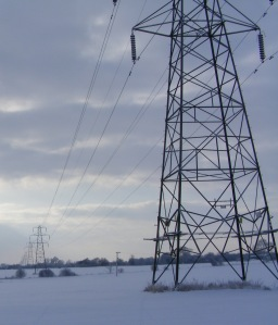 Picture of Pylons snowy Suffolk Landscape, memory of the Changes TV programmes
