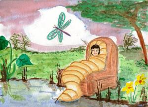 Illustration Friday, Cocoon, grub waiting to pupate and emerge