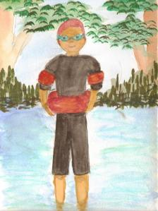 Illustration Friday - equipment, swimmer in wetsuit, swimming ring and armbands