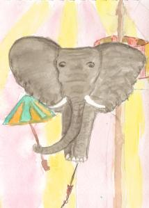 Elephant and mouse on tightrope for Illustration Friday